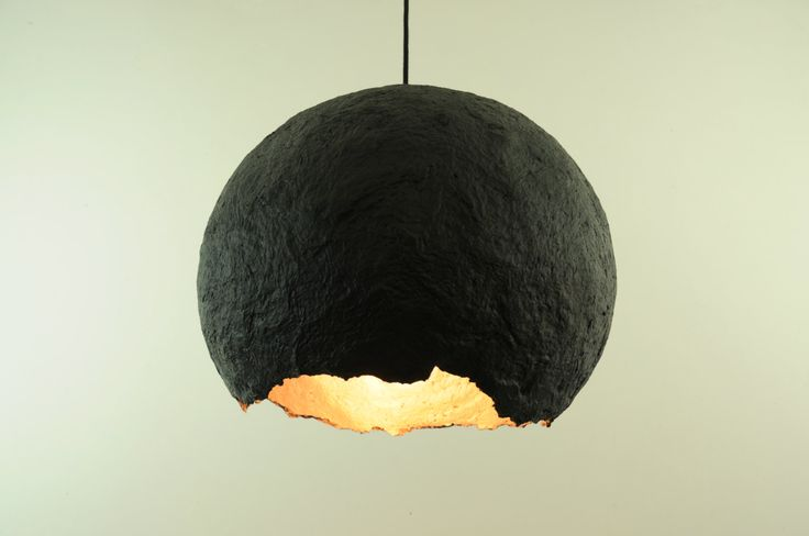 Hanging paper mache lamp - black and gold modern pendant light - brass - industrial lighting - eco friendly lamp - recycled lamp - RH-PP009 by RoughHandsTheHague on Etsy