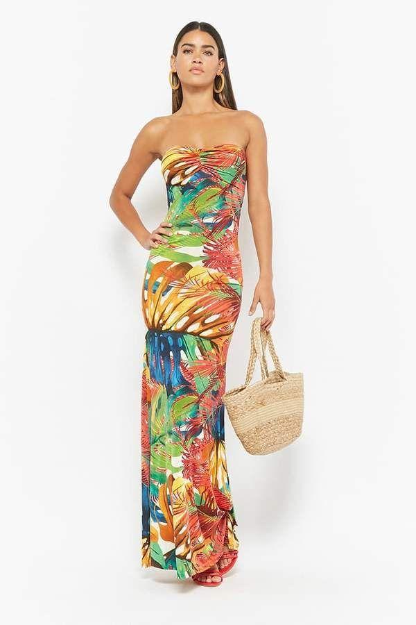 bda1b17088 FOREVER 21 Strappy Tropical Print Maxi Dress #maxidress #tropical #vacation  #resort #2018 #summer #strapless #womenswear #womensfashion #fashion