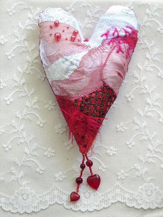 MY HEART  a mixed media textured textile by CAROLYNSAXBYTEXTILES on Etsy