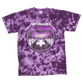"""Rock out in vintage style with this Metallica® Bleached Graphic T-Shirt featuring the cover art of Metallica's acclaimed """"Master of Puppets"""" album. The purple tie-dye pattern adds a psychedelic feel to the well-known album art, and the graphic comes pre-faded for worn-in look. Made of 100% cotton, you'll stay cool and comfortable even while headbanging to the music at your next rock concert."""