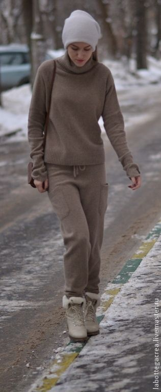 Купить Вязаный костюм Style me pretty cashmere - серый, коричневый, Костюм вязаный