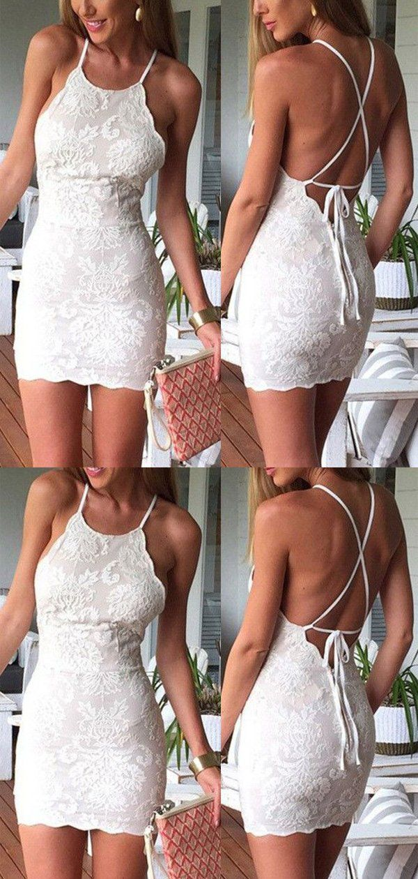 Mini White Lace Halter Lace Up Tight Short Homecoming Dress, BTW209