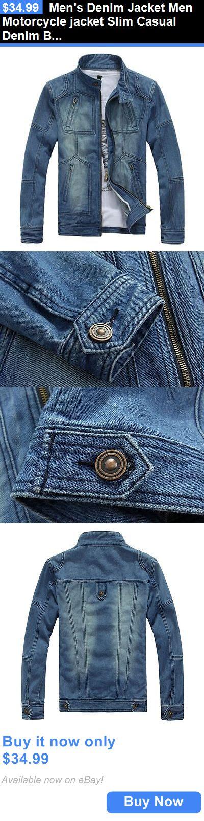 Men Coats And Jackets: Mens Denim Jacket Men Motorcycle Jacket Slim Casual Denim Biker Coat BUY IT NOW ONLY: $34.99