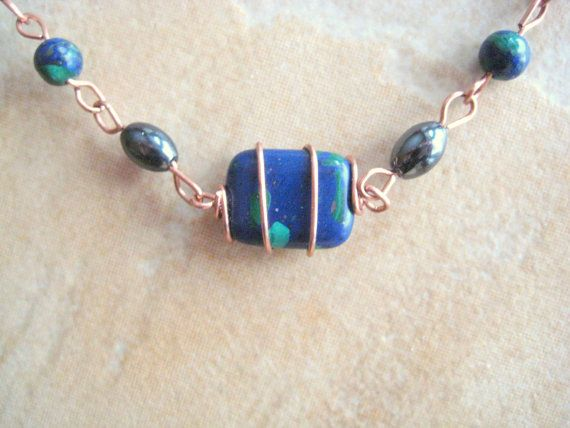 Therapeutic and Azurite Magnetic Hematite by KiCrystalCreations, $20.00