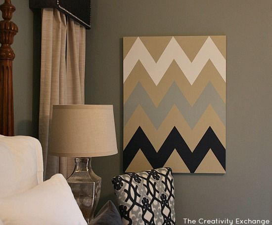DIY Multi-Colored Chevron Canvas Art with Printable Stencil�