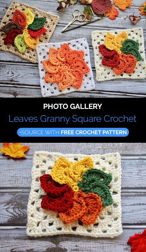 Leaves Granny Square Crochet | crochet patterns en 2018 | Pinterest ...
