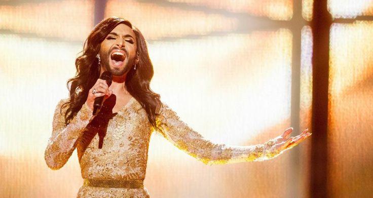 Now for something completely Eurovision: Conchita Wurst represents Austria. A hot favourite to win. Photograph: Nikolai Linares/EPA