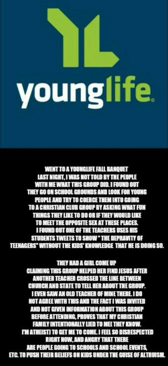 Younglife is a christian group dedicated to taking advantage of emotionally unstable teenagers. How great is god right?? #younglife #christian #atheist #antitheist #fuckyouyounglife