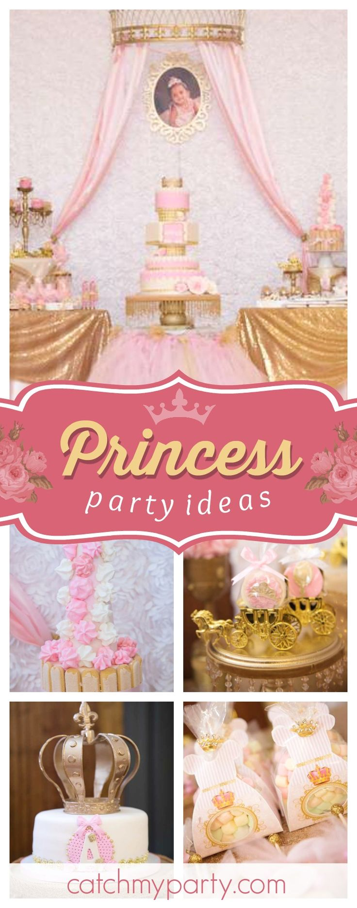 Don't miss this pretty Royal Princess birthday party! The cake is absolutely amazing!! See more party ideas and share yours at CatchMyParty.com #princess #1stbirthday