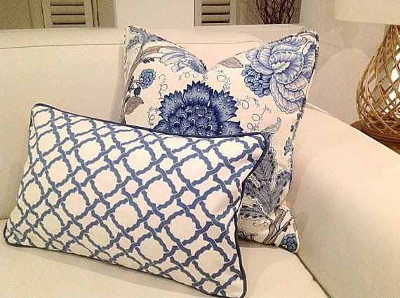 Hamptons Style Linen Cushions, Linen Designer Pillows. Blue & White, Cornflower Blue, Ivory Cshions, Scatter Cushion.
