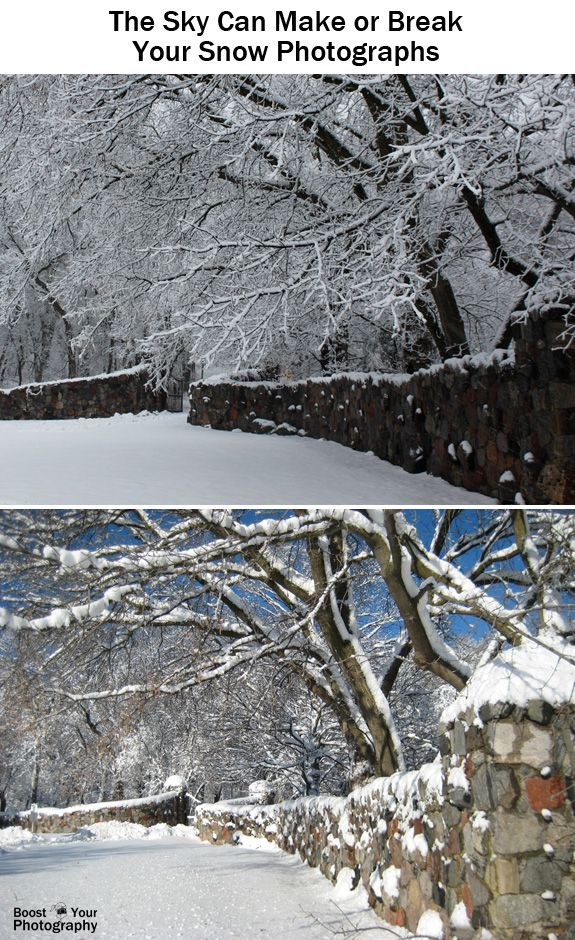 How to Take Better Snow Photographs - watch the sky | Boost Your Photography