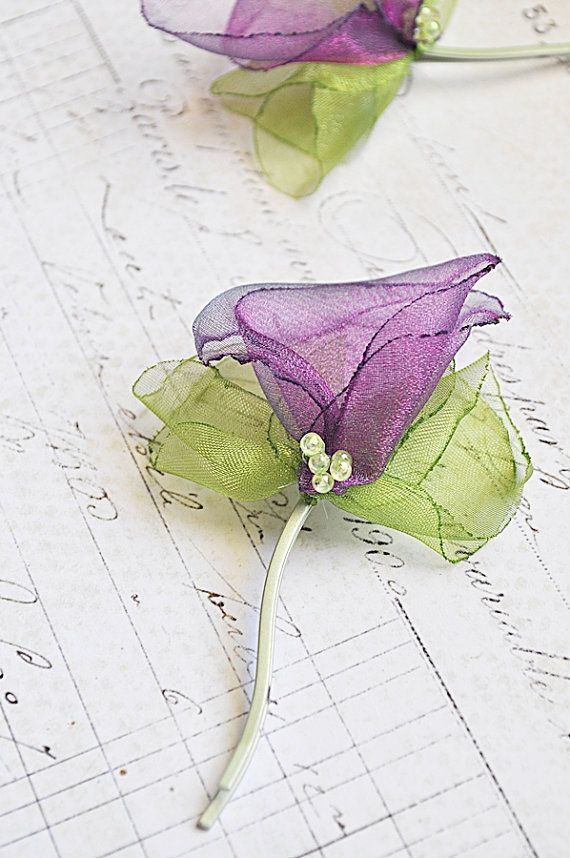 Items similar to Violet Tulip and Green Leaf Organza Hair Fascinator on Etsy