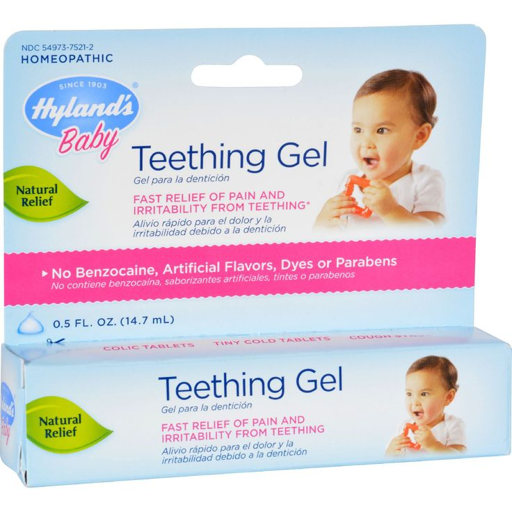 Hyland's Baby Teething Gel Description: - Relieves Pain and Irritability From Teething - No Numbing Benzocaine - No Artificial Flavors, Dyes or Parabens - Homeopathic - Made in USA Temporarily relieve