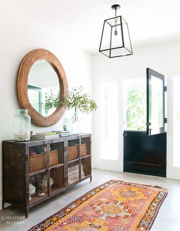 Large Round Foyer Mirror : White entryway round mirror storage black door light