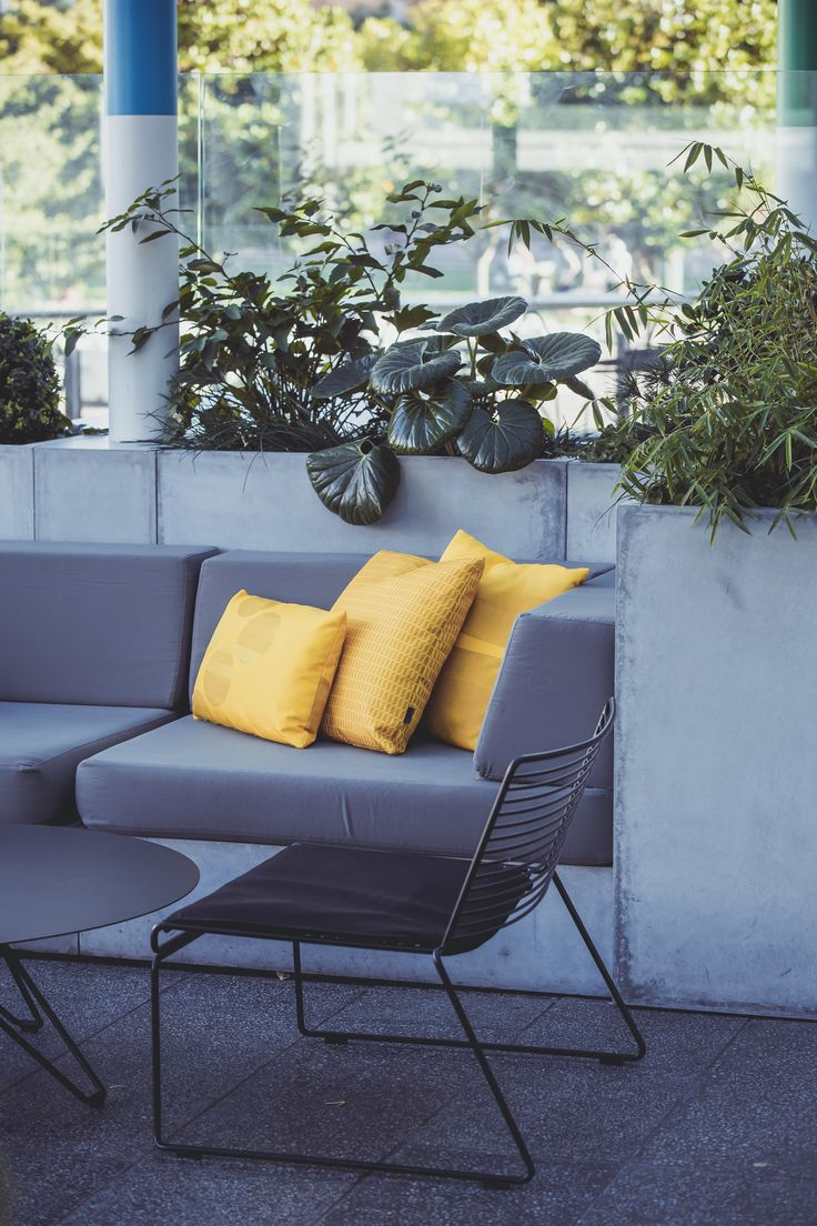 Emma Hayes cushions at Box Cafe, Auckland. Image thanks to Andi Crown Photography.