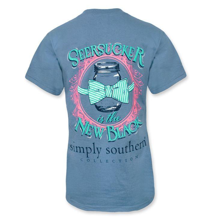 Simply Southern Seersucker Mason Jar T-Shirt - Slate Blue