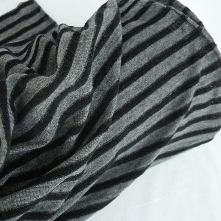 Black & Grey Stripe Wool Blend Jersey