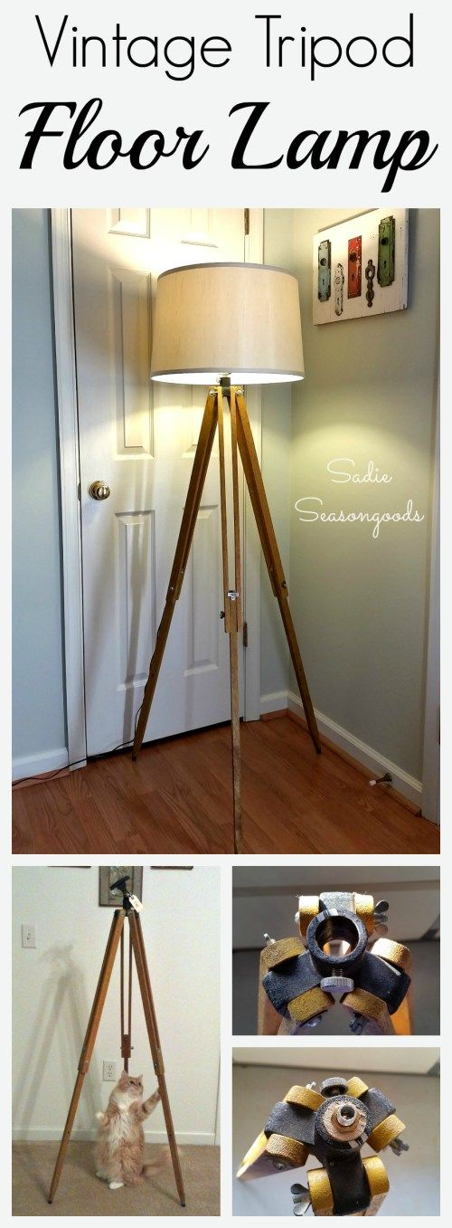Replica tripod lamps can cost hundreds of dollars at fancy home decor stores. But if you're lucky enough to score a vintage wooden surveyor / telescope tripod at thrift store or flea market, snap it up! It is super easy to DIY your own industrial floor lamp with this awesome how-to tutorial from  #SadieSeasongoods / www.sadieseasongoods.com