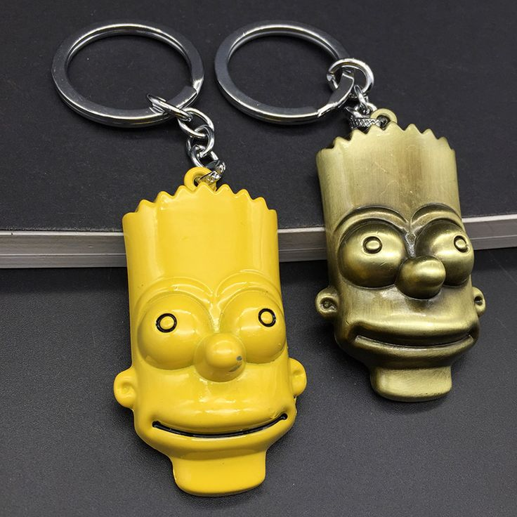 2pcs/lot The Simpson family Homer metal keychain  Bart Simpson pendant key ring with track NO. //Price: $8.99 & FREE Shipping //     #hashtag3