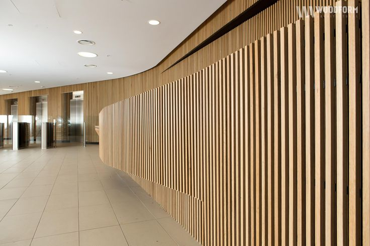 American white oak curved wall interior application. Concept click timber battens and screening.