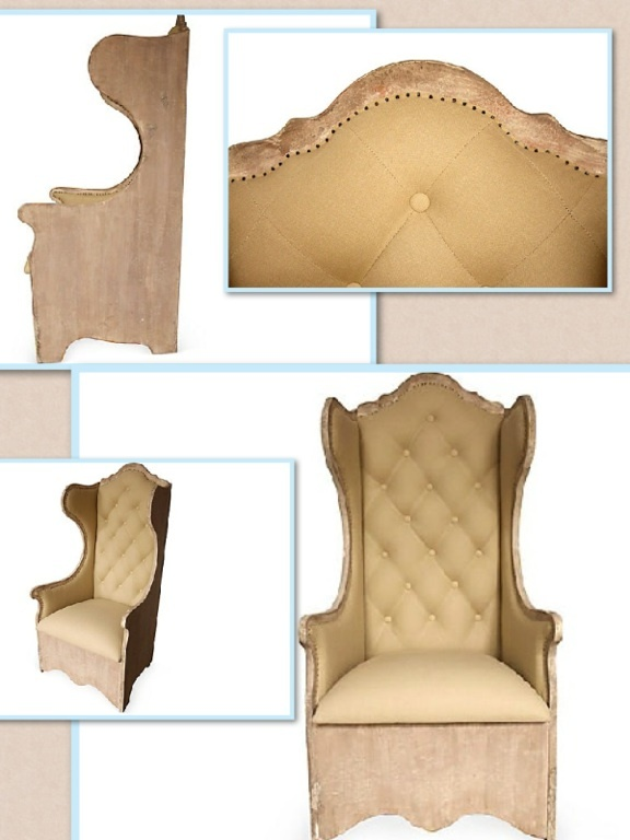 """Look at this amazing (well, mildly amazing anyway) funky throne of a chair! You could totally make this out of 1"""" finish grade plywood. Maybe you wouldn't even need finish grade if you see how the model has a sort of wood-colored distressed paint finish, which is good, since I have a good chairs worth of the latter laying around the garage. Of course, since symmetry is Important, one would have to make two. This one might put this on her 2013  to do list."""