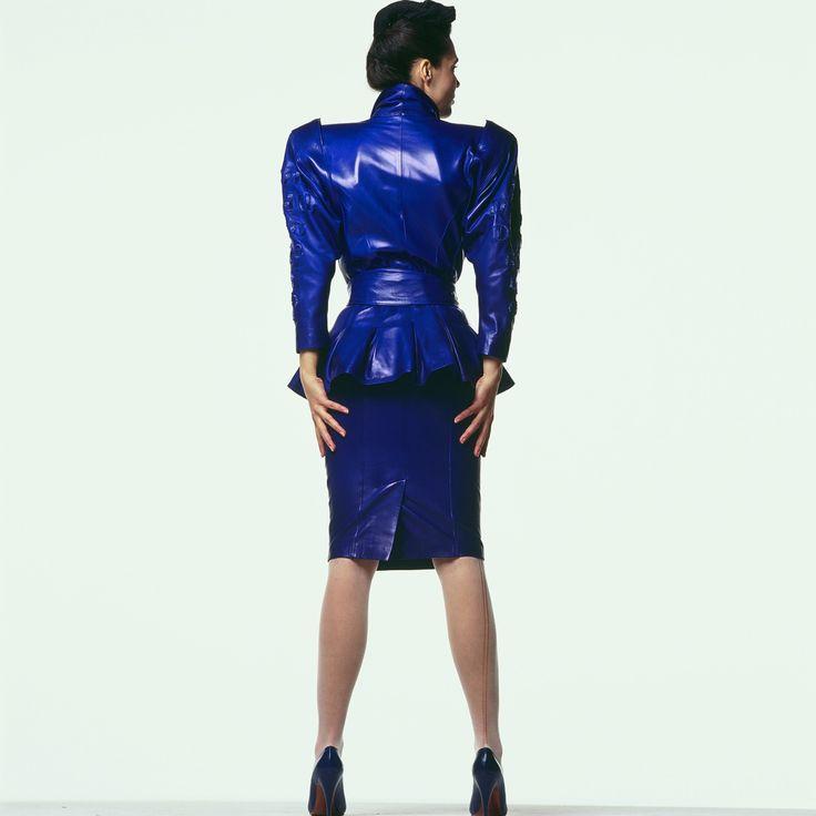 jean claude jitrois 80s leather skirt suit jitrois