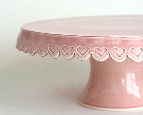 Heart Cake Stand  12 inch  Pink by vesselsandwares on Etsy