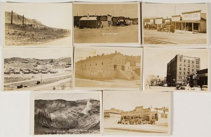 Four of the postcards are from Ruth, Nevada. Three show street scenes. Find the Ruth Drug Company and the Ruth Club: both unusual views. Two views are of Smelterville, Nevada. One view is of the Ruth pit and another view of the Nevada Hotel in Ely.  City: Smelterville, Ruth, Ely  State: Nevada  Date:   ID# 37604