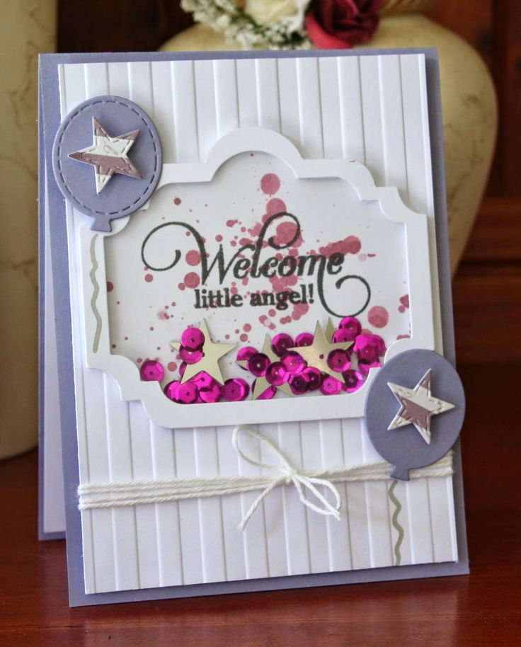 Inspired by Stamping, Kylie Purtell, shaker card, Fancy Labels 1 Die, Big Notes III, baby card