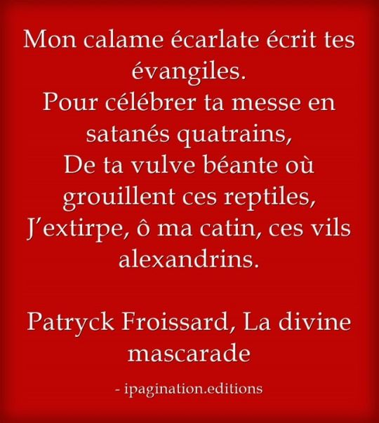 La divine mascarade, de Patryck froissart, chez ipagination.editions Disponible ici: