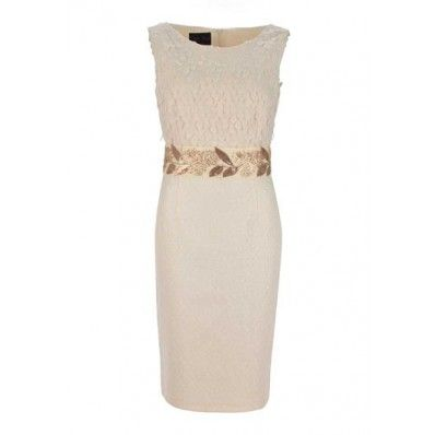 Daisy May Peach Dress with Embellished Waistline