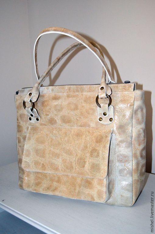 """Купить Сумка """"Пудровая черепаха"""" - бежевый, сумка ручной работы, сумка женская, сумка кожаная"""