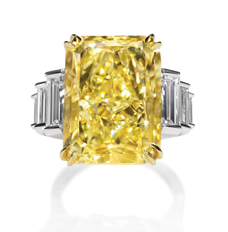 Harry Winston Incredible Radiant-cut Yellow Diamond ring in 18ct yellow gold with platinum