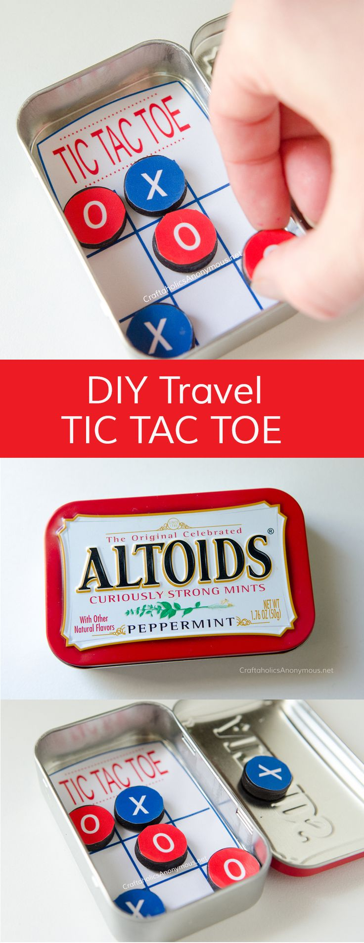 http://tipsalud.com DIY Pocket Tic Tac Toe game made with Altoids tin. Great activity for Road Trips or church. Great Kids Craft idea for summer or even a handmade Christmas gifts.