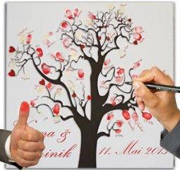 Hochzeitsbaum auf Leinwand als fingerprint wedding tree