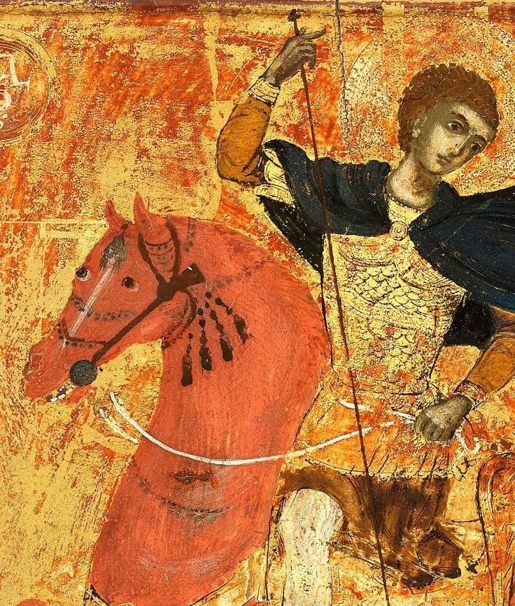 Detail of 18th century Greek icon of Saint Demetrios