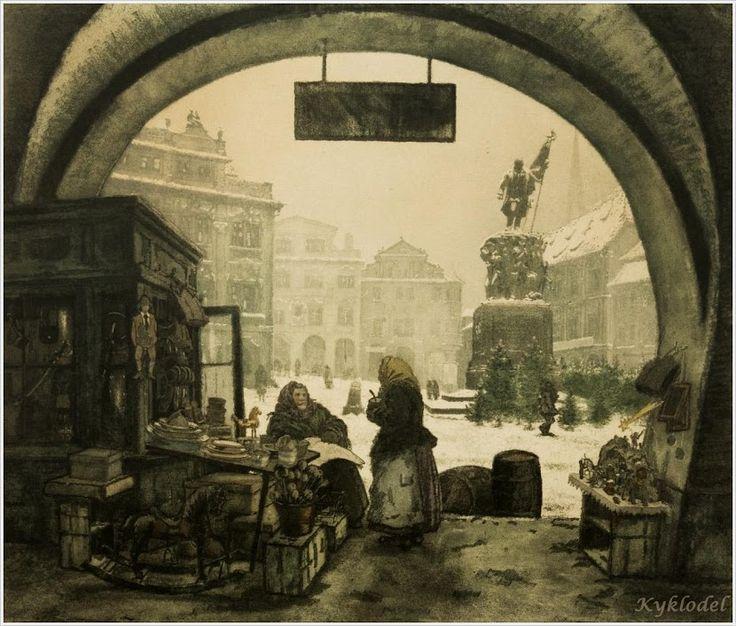 Jaromir Stretti-Zamponi (Czech 1882-1959) «Malostranske Square»