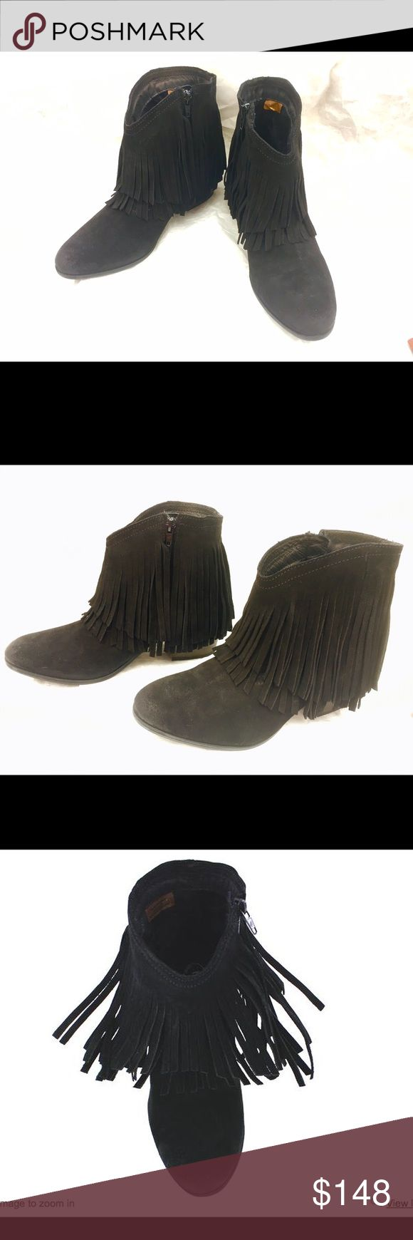 """Taos Shag Leather Fringe Boot 40/US 9 New With Box Check out the video on youtube from HSN, google """"Taos Footwear Shag Suede Fringe Ankle Bootie"""" You'll see how beautiful theboots walk and how sexy the fringes swing and flow. Very stylish, playful and cute.  40/US 9-9.5 in black are ALL sold out. If this is your size, grab it quick. It'll be gone soon. Retailed $240. Ship with the original box for a lower shipping cost. Concerned buyers, please don't bid.   Heel Height: 2 1/4"""" Upper…"""