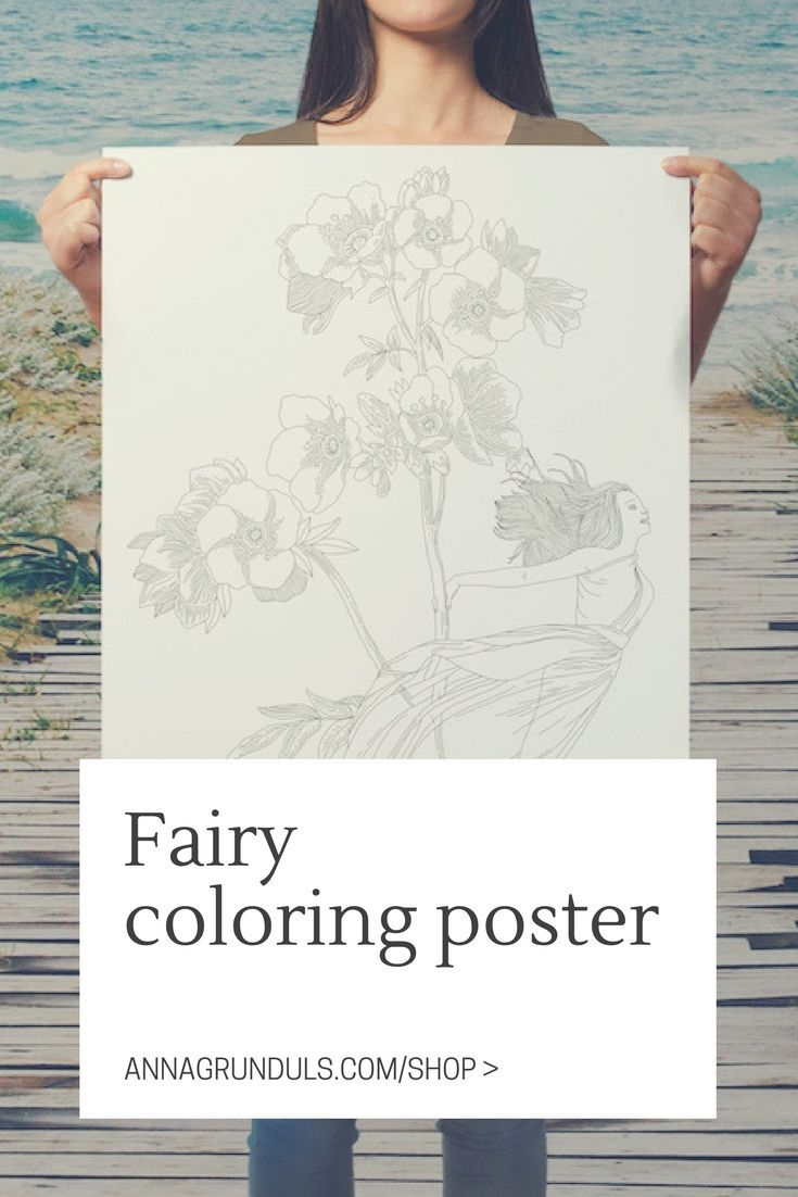 How beautiful is this fairy coloring poster from Etsy seller Anna Grunduls Design?! Perfect for a boho styled bedroom. It looks like a lot of fun to color it in ;)