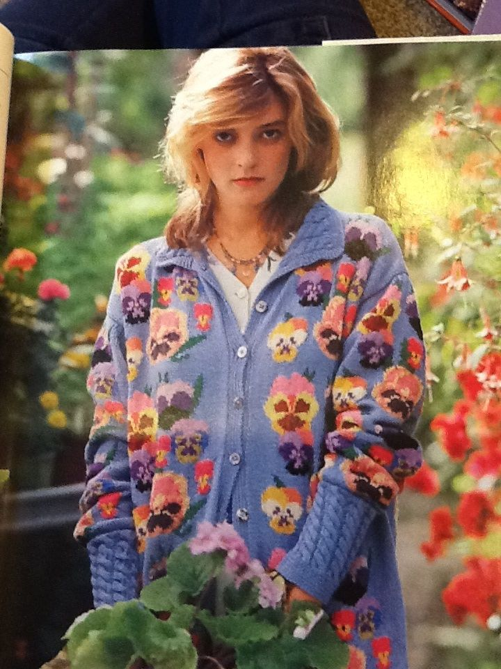 Statement cardigan! But imagine these pansies on a cushion...sweet! Susan Duckworth's Knitting, 1988