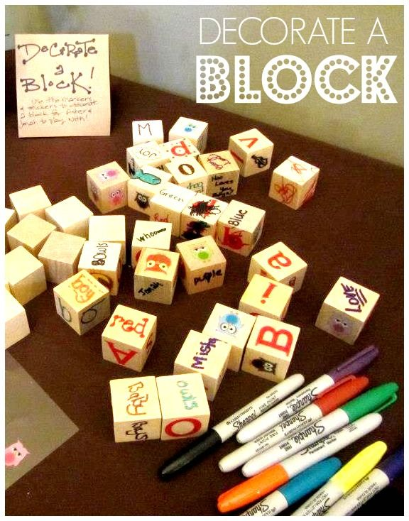 Decorate-A-Block for baby at a baby shower! Great alternative to a baby shower game.