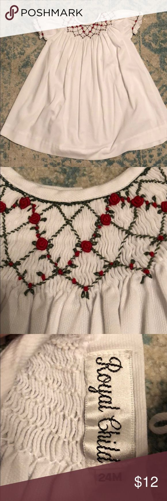 Girls smocked dress size 24 months Girls white smocked dress with red roses and green accents size 24 months. Royal Child Dresses Formal