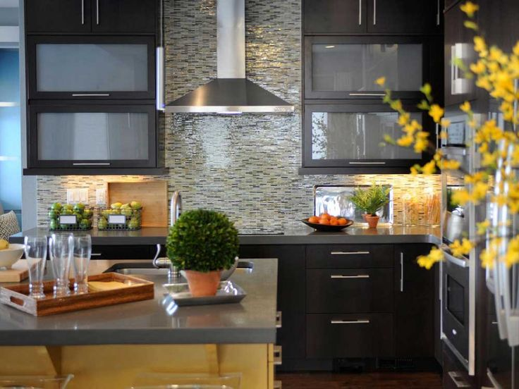 Mosaic Tile For Kitchen Ideas with black and white backsplash tiles and dark cupboard