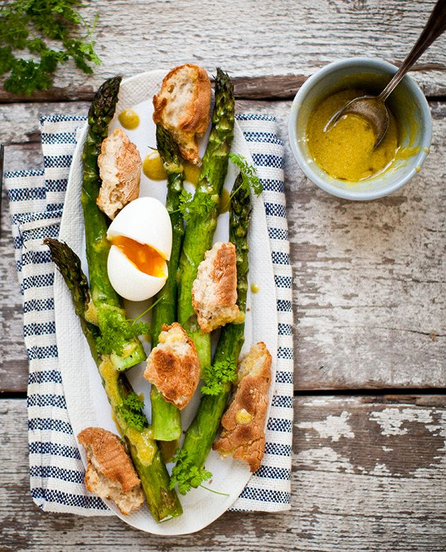 Roasted asparagus + toasty bread  + soft boiled egg. Yes.
