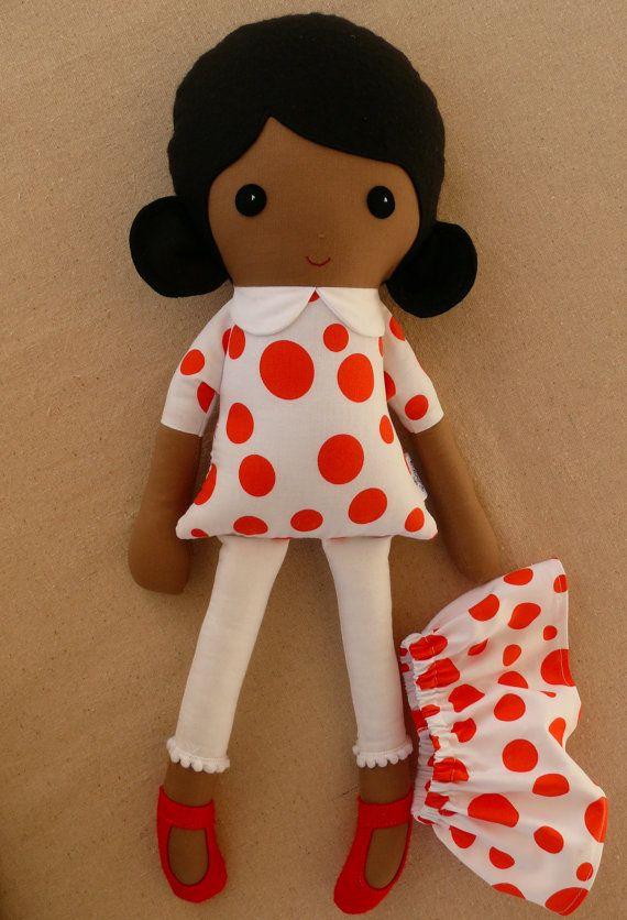 Fabric Doll Rag Doll Black Haired Girl in Dark by rovingovine