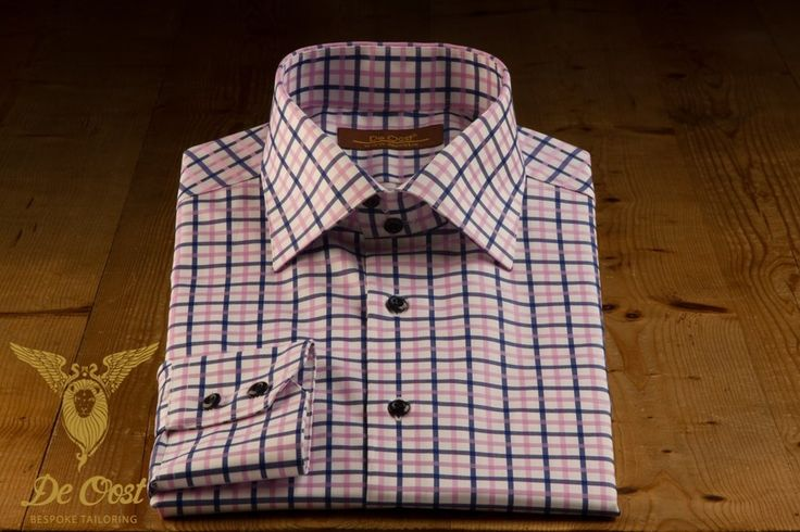 Tailored Made Shirt Pink Blue Tattersall Check Broadcloth With Double Button Bevelled Cuffs-4.jpg