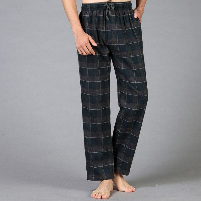 Thicken Plus Size 100% cotton mens pyjamas bottoms warm simple Spring home trousers for male sheer mens pants sleep bottoms