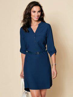 Vestido mulher manga 3/4 regulável mais comprido atrás
