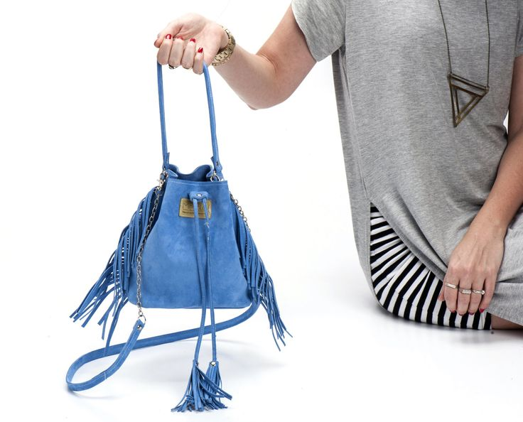 Small Leather Bucket bag, Fringe Purse, Blue Leather fringe handbag, Fringe bucket, Leather fringe, Sale! - pinned by pin4etsy.com