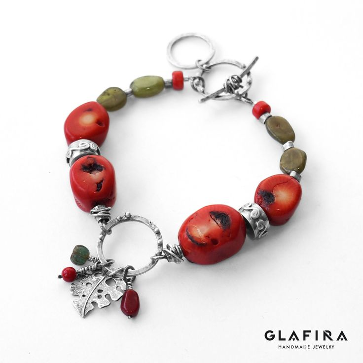 Corals, Agates and Sterling Silver Bracelet. Bracelet №023 Серебро, кораллы, агаты.  Silver, corals, agates.